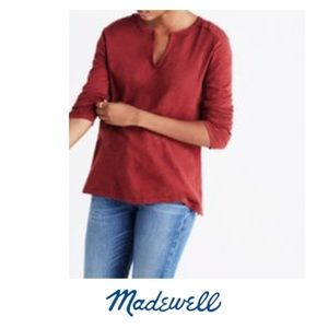 Madewell Slit Neck Brick Red Cotton Tee
